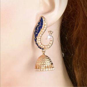 Retro Indian peacock chandelier earrings